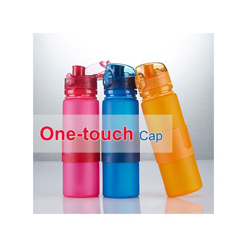Collapsible Silicone One Touch Cap Waterbottle JT2106